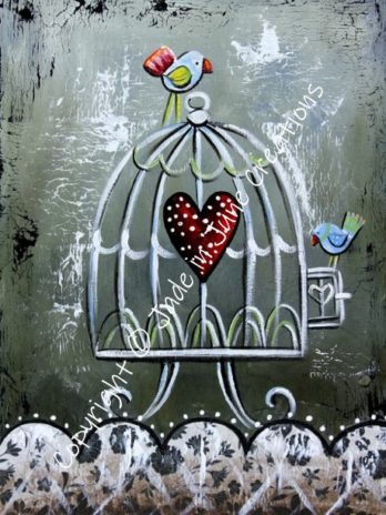 Birdcage With Two Birds