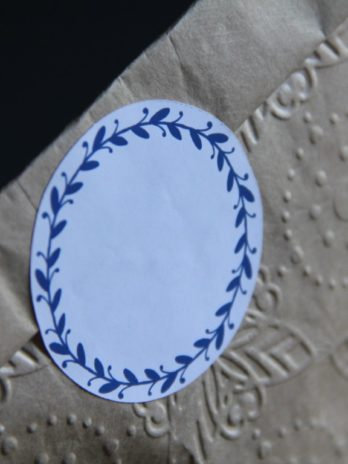 Stickers 6 Round Blue Leafy